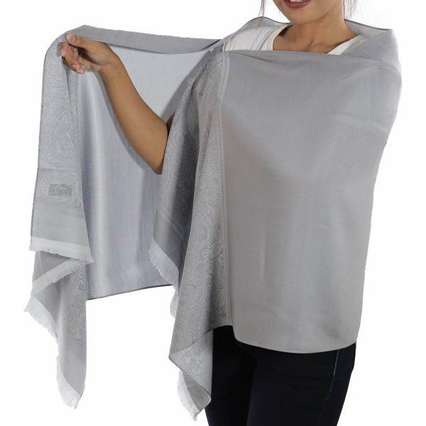 buy silver silk scarf