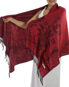 buy deep red pashmina scarf