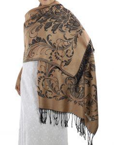 buy light brown pashmina scarves